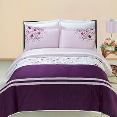 Cherry Embroidered 8PC Full Size Bed in a Bag Comforter Set 100  Cotton 300 TC includes 4pc Sheet Set  3pc Duvet Cover Set  Down Alternative Comforter by Royal Hotel Bedding -- ON SALE Check it Out