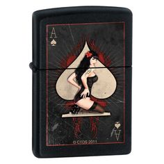 "Zippo ""Ace of Spades-Pinup Girl"" Black Matte Lighter 