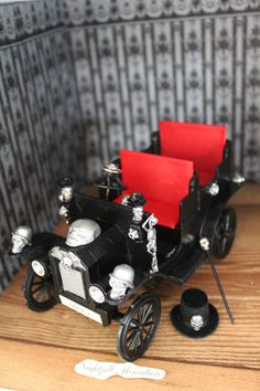 Dollhouse Miniature Spooky Gothic  ' Old Timer' Vehicle Car
