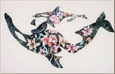 Mother and Baby Orca Leis, corsages, and bouquets are ways we honor each othe. - Mother and Baby Orca Leis, corsages, and bouquets are ways we honor each other. The bodies of th - Ocean Tattoos, Whale Tattoos, Flower Tattoos, Killer Whale Tattoo, Arte Orca, Orca Art, Orca Tattoo, Tattoo Bein, Big Tattoo