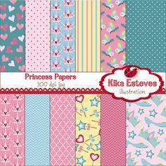 Pink Princess Digital Papers  Scrapbooking card by kikaesteves, $4.00