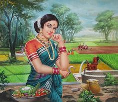 Chitravali: House of vintage prints and collectibles presents the biggest collection of Indian Calendar Artworks. Village Scene Drawing, Art Village, Indian Village, Indian Women Painting, Indian Art Paintings, Nature Paintings, Fantasy Art Women, India Art, Painting Of Girl