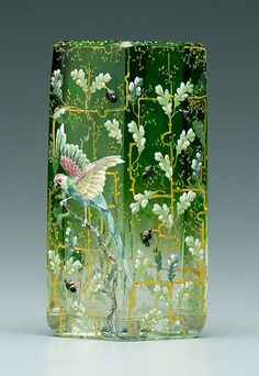 Lot: 312: Moser enameled art glass vase,, Lot Number: 0312, Starting Bid: $150, Auctioneer: Brunk Auctions, Auction: 18th & 19th c. Antiques & Decorative Arts, Date: February 17th, 2007 CST