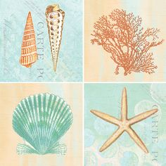 Great for a beach house! Set of 4- By the Sea Drink Coaster Sets by CoasterStone