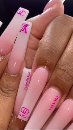 Acrylic Nails Coffin Pink, Short Square Acrylic Nails, Drip Nails, Glow Nails, Cute Acrylic Nail Designs, Dope Nail Designs, Exotic Nails, Luxury Nails, Swag Nails
