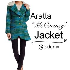 NWT - Unique Boho Jacket BNWT!  McCartney Jacket by Aratta - Unique boho vintage-style details.  Medium, but I feel it could fit a large, as well.  Blue/Green, comfy, 3-button, hi-low style.  Gorgeous  floral lining. Flap pockets, nubby collar.  80% poly, 20% wool.  Measurements in comments below. Aratta Jackets & Coats