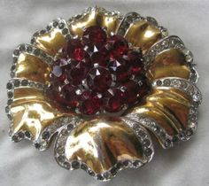 Early-BOUCHER-Large-Red-Stones-Rhinestones-Brooch-Pin