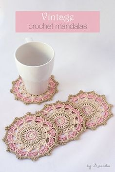I finished these pink vintage crochet mandalas last spring, but have not found time to show you them until now.Vintage inspired crochet mandalas, suitable as coasters, a stylish touch on your table. You're going to love Vintage crochet mandalas by d Crochet Coaster Pattern, Crochet Flower Patterns, Doily Patterns, Crochet Motif, Crochet Doilies, Crochet Flowers, Crochet Stitches, Mandala Pattern, Thread Crochet