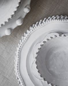 Astier de Villatte is a line of ceramics dinnerware entirely handmade in Paris, France. Made of black terracotta clay, and glazed with a milky white finish. Ceramic Tableware, Ceramic Pottery, Pottery Art, Ceramic Art, Kitchenware, White Dishes, White Plates, Ceramic Studio, Air Dry Clay