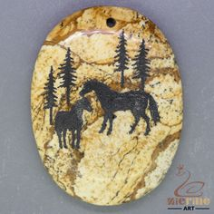 Hand Painted Horse animal Pendant Natural Picture Jasper   ZL001256 #ZL #Pendant