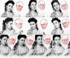 Una tavola che raffronta diverse posizioni e diverse espressioni con schemi dei piani facciali: un utile esercizio per imparare a fare ritratti