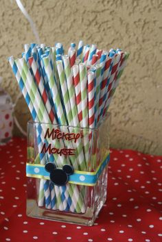 party favors, mickey mouse birthday, birthday parties, mickey clubhouse birthday, 1st birthday, mickey mouse clubhouse photos, paper straws, parti idea, mous parti