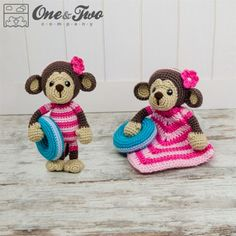 Lily the Baby Monkey Lovey and Amigurumi Crochet Patterns by One and Two Company