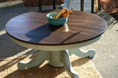 Old dining table turned into coffee table.  Painted Annie Sloan Chalk paint duck egg