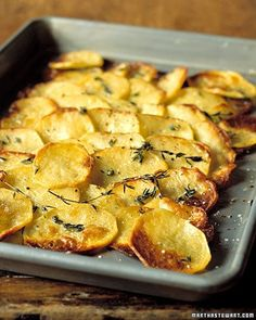 5 STAR...Baked Potato Slices.  Terrific recipe.  Crazy easy.  I loved the way the slices were both tender and crispy.  Did add 1 or 2 cloves of minced garlic and will do so again next time.