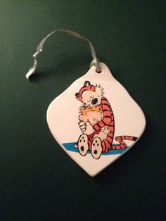 Calvin and Hobbes recycled book porcelain ornament by NovelArtsIdeas on Etsy