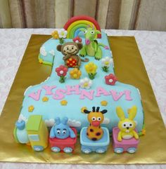 Risultati immagini per baby tv cakes Baby Birthday Cakes, Baby First Birthday, Number One Cake, Number Cakes, Baby Tv Cake, 1st Birthdays, Girl Cakes, Cute Cakes, Baby Shower Cakes