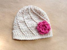 Crochet Girl Hat Beanie Girl Flower Hat by LittleMommaBoutique, $22.50