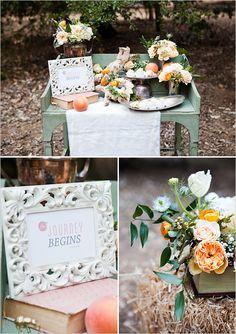 James  The Giant Peach Wedding: Receiving Table - peach wedding ideas