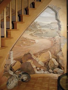 By Fresco Interior Design Studio 3d Wall Art, Wall Murals, Faux Painting Techniques, Grand Staircase, Hand Painted Furniture, Mural Painting, Interior Design Studio, Paint Designs, Art Pictures