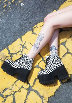 Current Mood King Me Code Boots, Dolls Kill, shoes, boots, heels, checkered, patterns, black and white