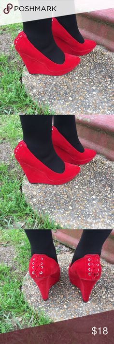 Red close toe Velvet wedges Velvet red wedges.. with a few marks wear etc..no box Shoes Wedges