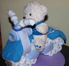 Diaper motorcycle.  See http://www.lisasgiftcakes.com for more info or to order!