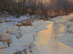 Barbara Jaenicke, Evening's Final Glow, oil, 18 x Oil Painting Pictures, Painting Snow, Winter Painting, Winter Art, Nature Paintings, Cool Paintings, Beautiful Paintings, Landscape Paintings, Pastel Landscape