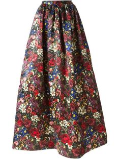 A maxi skirt with some sass.  The print is so Aria. Young, fun and edgy for her prom debut. I love Shop Alice+Olivia 'Tina' floral print maxi skirt | Pretty Little Liars