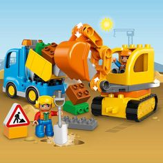 LEGO® DUPLO® Town Truck & Tracked Excavator 10812:<br>Jump into the rotating cabin of the Tracked Excavator to scoop up the dirt, then load up the truck with tipping function and drive it away. Little diggers will love operating these easy-to-build construction machines. Move the Tracked Excavator over uneven land and dig with its big shovel. Take its working, flexible arm apart to make it shorter and then load up the Truck with its tipping function to drive the ru...