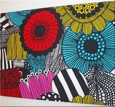 Thinking of ordering a Marimekko wall art piece...what do you think of this colourful number?! It's Marimekko 'Siirtolapuutarha' fabric.