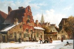 Adrianus Eversen (Amsterdam Delft) A snow-covered Dutch town - Dutch Art Gallery Simonis and Buunk Ede, Netherlands. Landscape Art, Landscape Paintings, City Painting, Dutch Painters, Dutch Artists, Delft, Art Studios, Lovers Art, Holland