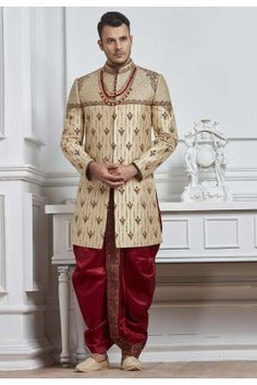 Attractive Looking Golden Color Silk Sherwani With Matching Dhoti With Zari,Embroidery,Zardozi Work. Wedding Dresses Men Indian, Wedding Dress Men, Wedding Wear, Wedding Suits, Wedding Attire, Sherwani Groom, Mens Sherwani, Wedding Sherwani, Western Formal Wear
