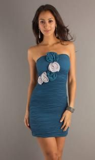 Flower Applique Ruching Short Strapless Natural Crushed Backless Teal  Prom Dress 2012