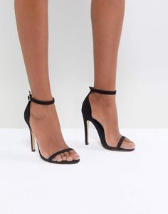 8442cb5a9f77aa Truffle Collection Barely There Heel Sandal Sandalen Mit Absatz Schwarz