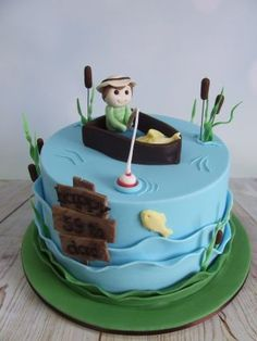 Fisherman cake - Cake by Cake A Chance On Belinda Fish Cake Birthday, 70th Birthday Cake, Birthday Cakes For Men, Cakes For Boys, Fondant Cakes, Cupcake Cakes, Cupcakes, Fisherman Cake, Pond Cake