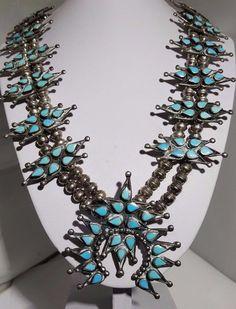 "Kakiki Navajo Sterling & Turquoise Squash Blossom Necklace 32"" 192g  #Unbranded"