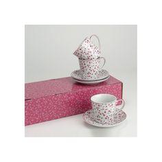 Precioso juego de café de 6 servicios, decorado con delicadas flores en color malva