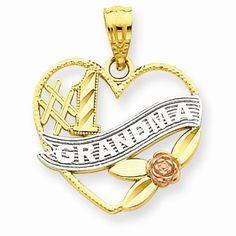 14k Two Tone Gold #1 Grandma Heart Pendant