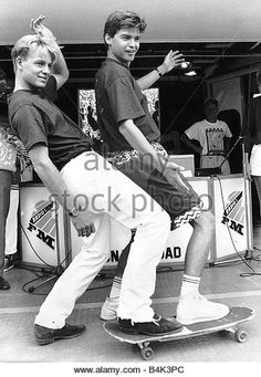 Jason Donovan actor and singer with DJ actor and singer Phillip Schofield DBase - Stock Image
