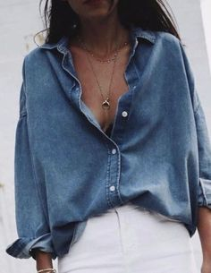 Chambray shirt with white pants.