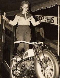 Female Wall of Death motorcycle rider Cookie Ayers-Crum on her Indian Scout, Right- Maureen Swift, circa 1949.