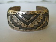 Signed Vintage HOPI Sterling Silver Overlay CUFF BRACELET Jesse Josytewa, TurquoiseKachina, $323.10