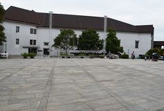 Setting up the trusses for outdoor movie, The Ljubljana Castle, Slovenia