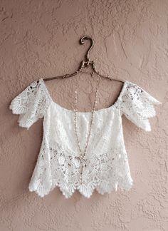 Romantic white crochet crop off shoulder bohemian