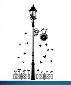 Yunxi 8 Styles Removable Vinyl Wall Stickers Street Lamps Butterfly Fence Living Room Bedroom Diy Art Home Decor Wall Decals Wall Painting Decor, Diy Wall Art, Vinyl Wall Stickers, Wall Decals, Pop Art Wallpaper, Wall Drawing, Journal Themes, Street Lamp, Wire Art