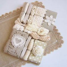 Vintage ECRU BEIGE & TAUPE Assortment of by NiftyThriftyDryGoods $30