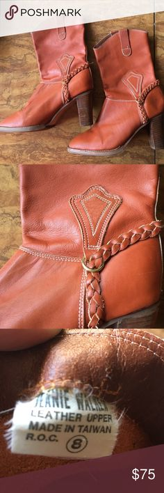 Jeanie walker 1970 vintage boots orange 🍊 8 Leather upper made in Taiwan size 8. vintage Shoes Heeled Boots