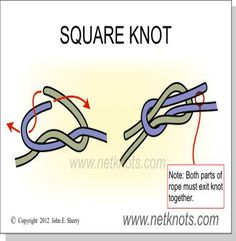 How to tie a Square Knot- this is useful for a adjustable strap