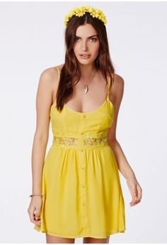Missguided - Otisa Yellow Crochet Waist Skater Dress